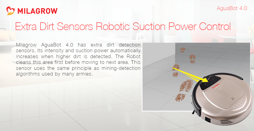 Extra Dirt Sensors Robotic Suction Power Control